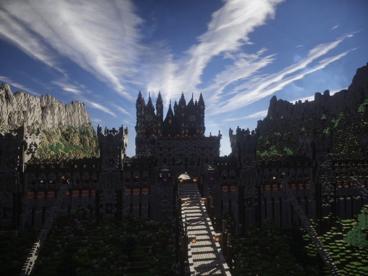 Castle of WhiteCliff minecraft building ideas download mountain clif gate wall 9