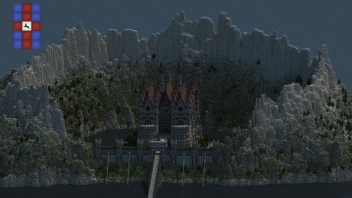 Castle of WhiteCliff minecraft building ideas download mountain clif gate wall