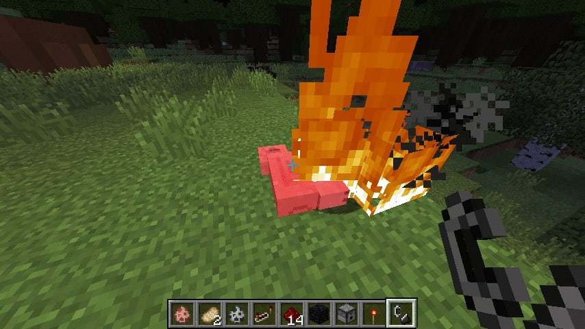 If an animal is killed while on fire, it drops cooked flesh.