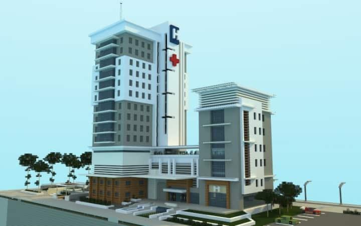 Modern Hospital minecraft building ideas schematic download city 3