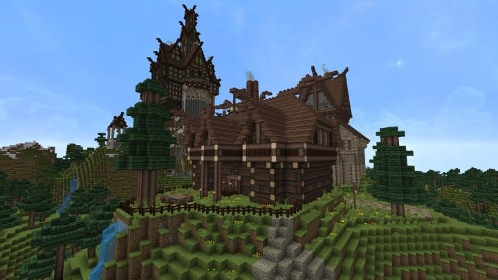 Ravenhold Skyrim inspired project minecraft house castle midevil town download 11