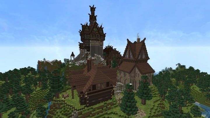 Ravenhold Skyrim inspired project minecraft house castle midevil town download 14