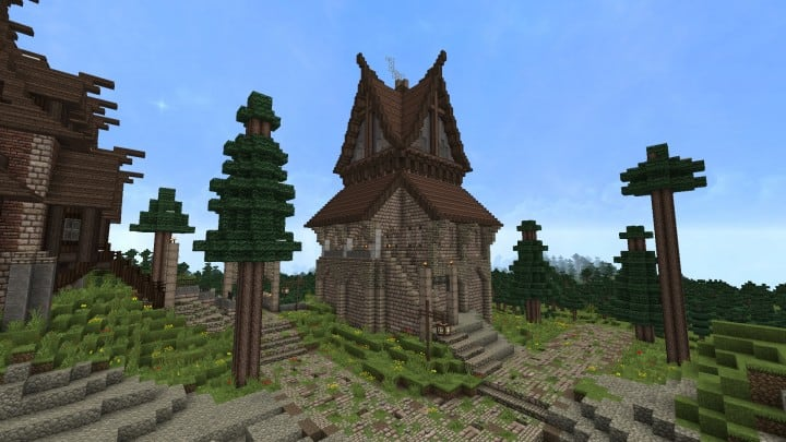 Ravenhold Skyrim inspired project minecraft house castle midevil town download 3
