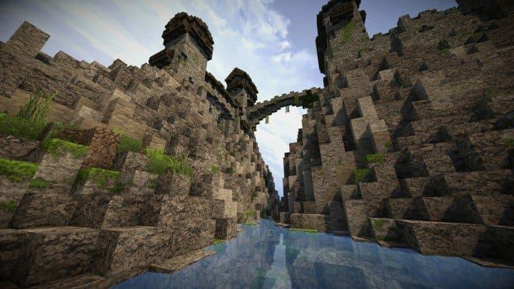 Stonegate Castle Cinematic minecraft building ideas drawbridge mote water terrain 10