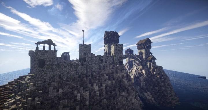 Stonegate Castle Cinematic minecraft building ideas drawbridge mote water terrain 4