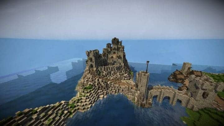 Stonegate Castle Cinematic minecraft building ideas drawbridge mote water terrain 6