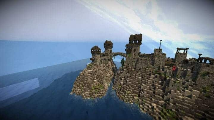 Stonegate Castle Cinematic minecraft building ideas drawbridge mote water terrain 8