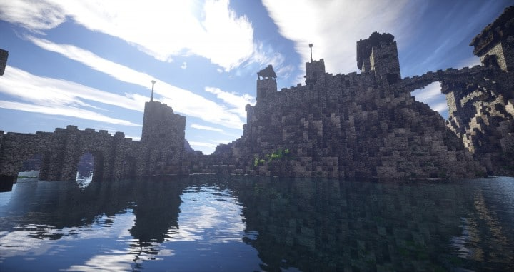 Stonegate Castle Cinematic minecraft building ideas drawbridge mote water terrain