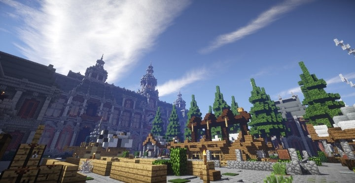 The Baroque Survival Games 32 Players mini minecraft building blueprints design city town villa 14