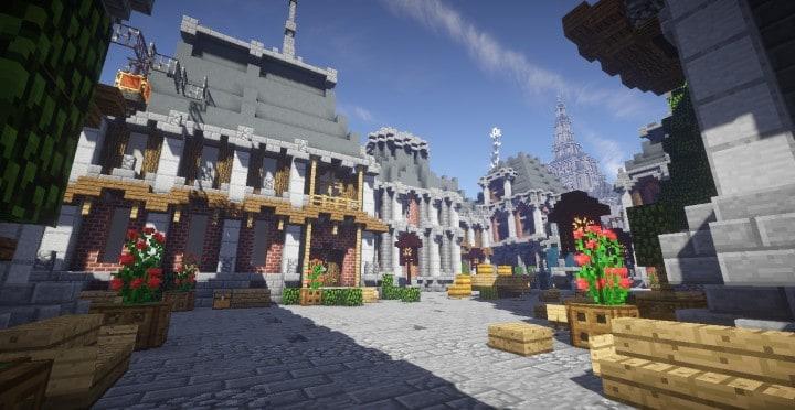 The Baroque Survival Games 32 Players mini minecraft building blueprints design city town villa 16