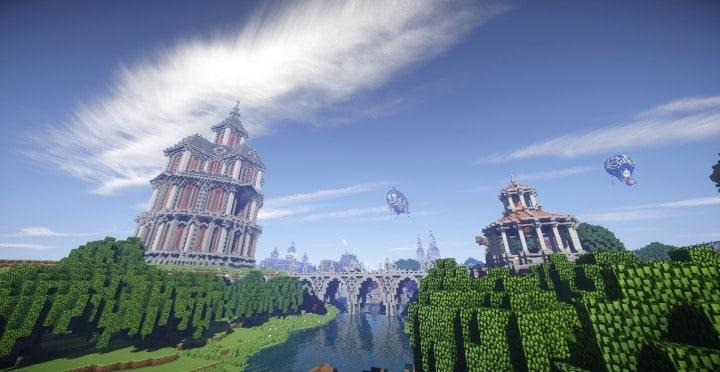 The Baroque Survival Games 32 Players mini minecraft building blueprints design city town villa 18