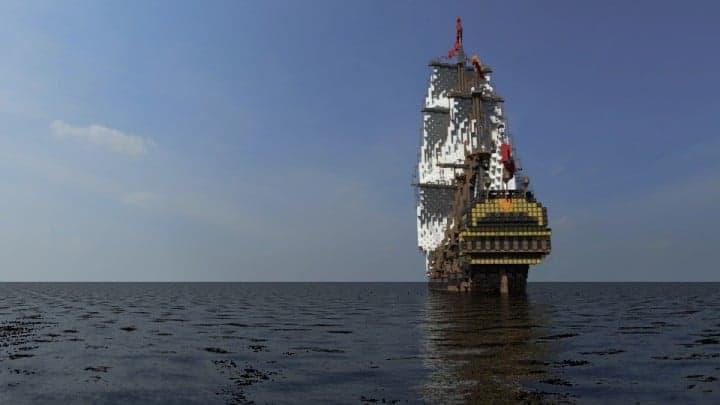Wapen von Hamburg Full interior build  World DL minecraft building ideas sea ship boat sails 10