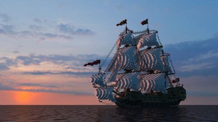 Wapen von Hamburg Full interior build  World DL minecraft building ideas sea ship boat sails 11