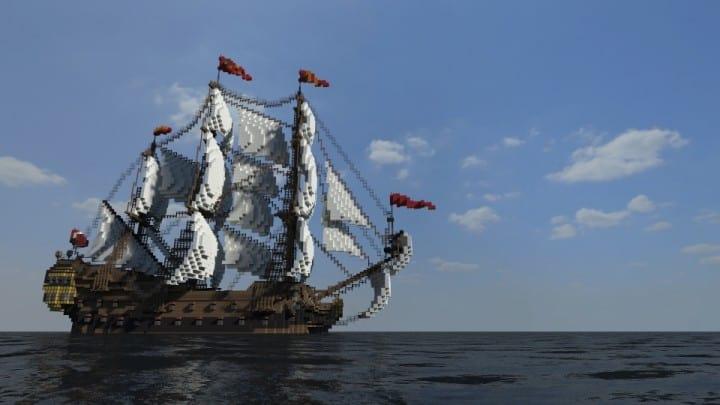Wapen von Hamburg Full interior build  World DL minecraft building ideas sea ship boat sails 12