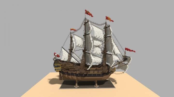 Wapen von Hamburg Full interior build  World DL minecraft building ideas sea ship boat sails 13