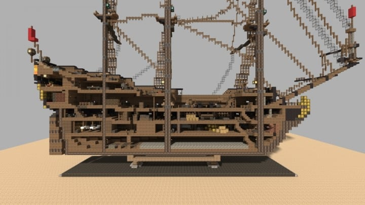 Wapen von Hamburg Full interior build  World DL minecraft building ideas sea ship boat sails 14