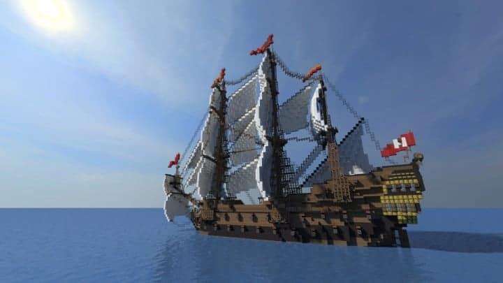 Wapen von Hamburg Full interior build  World DL minecraft building ideas sea ship boat sails 2