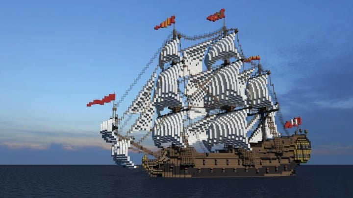 Wapen von Hamburg Full interior build  World DL minecraft building ideas sea ship boat sails 6