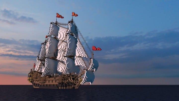 Wapen von Hamburg Full interior build  World DL minecraft building ideas sea ship boat sails 7