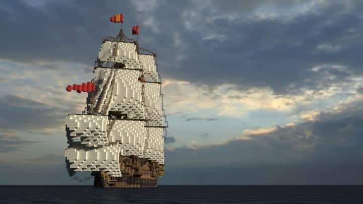 Wapen von Hamburg Full interior build  World DL minecraft building ideas sea ship boat sails 8