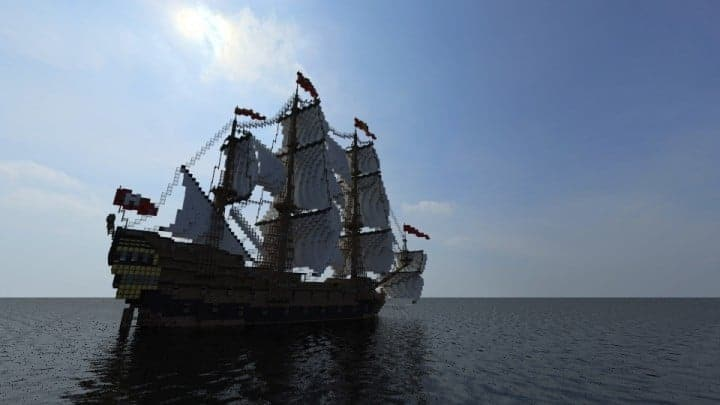 Wapen von Hamburg Full interior build  World DL minecraft building ideas sea ship boat sails 9