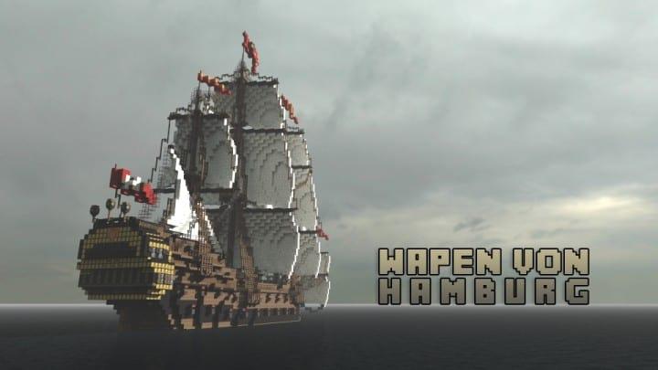 Wapen von Hamburg Full interior build  World DL minecraft building ideas sea ship boat sails
