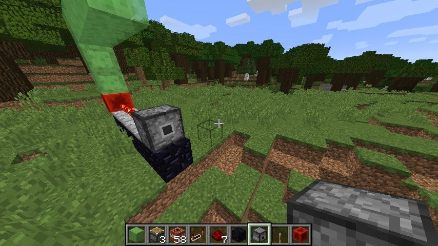 With some clever timing and distance from explosions, extending a piston at the same time an explosion goes off can explode the head of the piston leaving only the base.  This forms a BUD: updating it will cause the head to reappear, deleting whatever block is in front of it.
