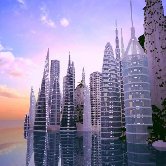 a city by the water minceraft building ideas skyscrapers ocean lake towers 2