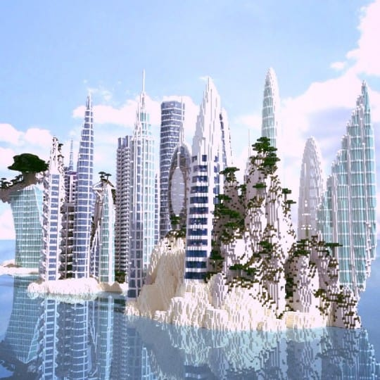 a city by the water minceraft building ideas skyscrapers ocean lake towers 3