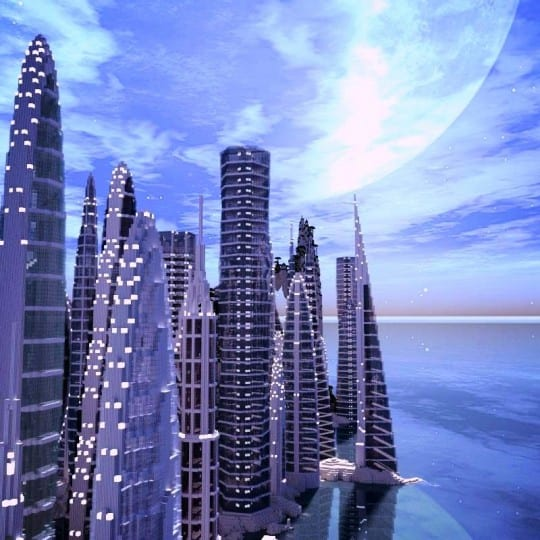 a city by the water minceraft building ideas skyscrapers ocean lake towers 4
