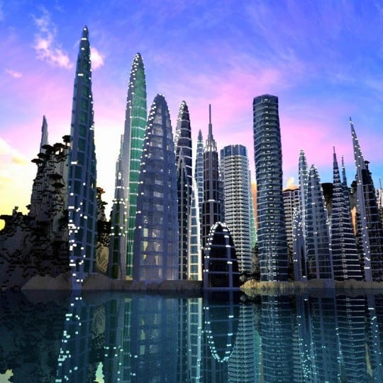 a city by the water minceraft building ideas skyscrapers ocean lake towers 7