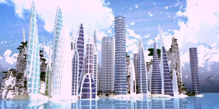 a city by the water minceraft building ideas skyscrapers ocean lake towers
