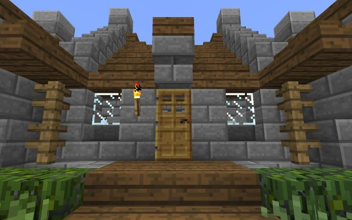 survival house tutorial how to cheap minecraft building ideas wood and stone 9