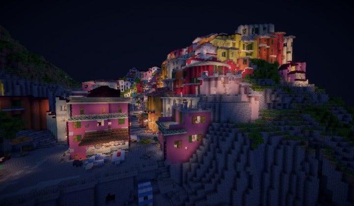 A cinque terre Manarola in Italy minecraft colorful city building plans 10