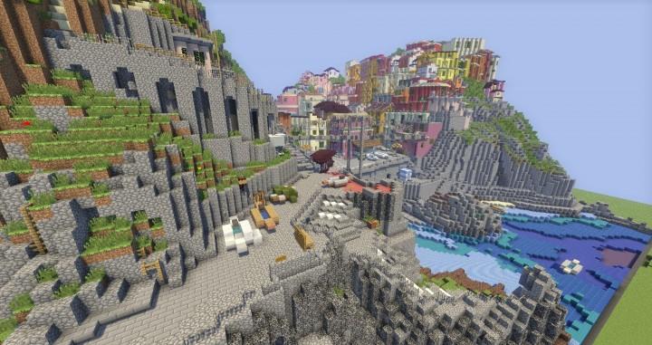 A cinque terre Manarola in Italy minecraft colorful city building plans 2