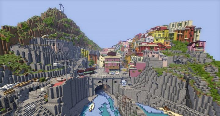 A cinque terre Manarola in Italy minecraft colorful city building plans 3