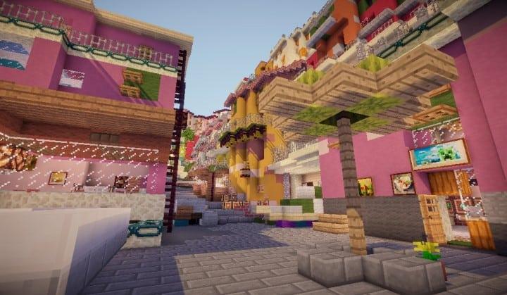A cinque terre Manarola in Italy minecraft colorful city building plans 4