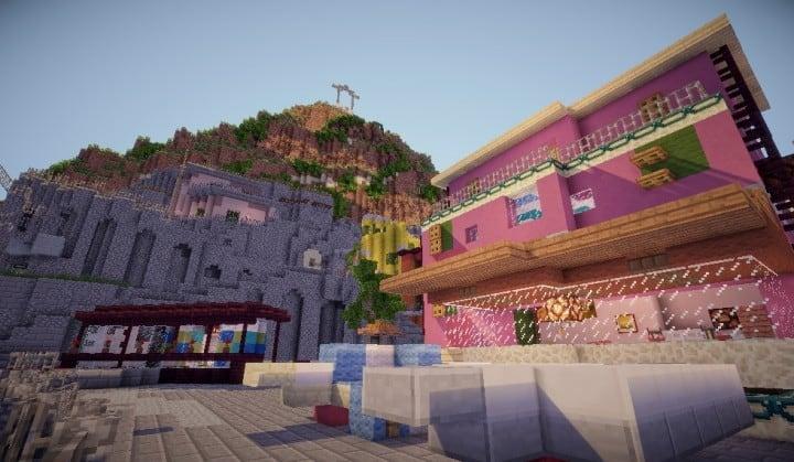 A cinque terre Manarola in Italy minecraft colorful city building plans 6