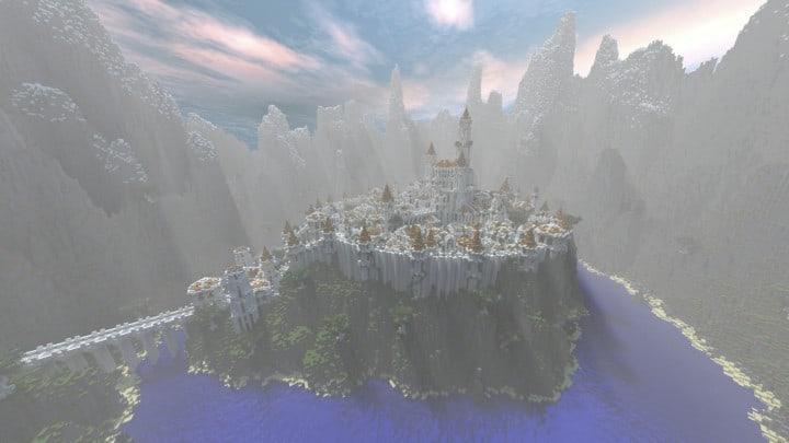 Gondolin castle mode stone lore gate white gold minecraft building ideas 3