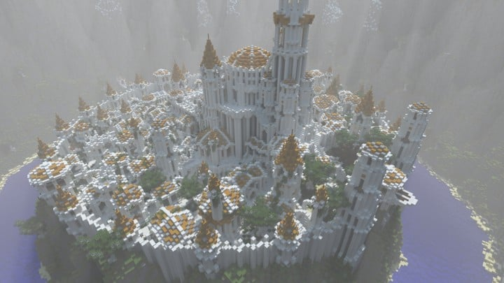 Gondolin castle mode stone lore gate white gold minecraft building ideas 4