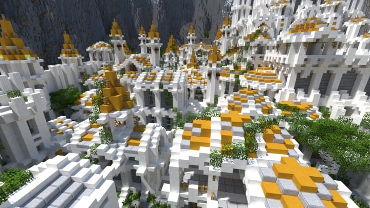 Gondolin castle mode stone lore gate white gold minecraft building ideas 5