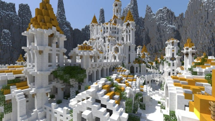 Gondolin castle mode stone lore gate white gold minecraft building ideas 6