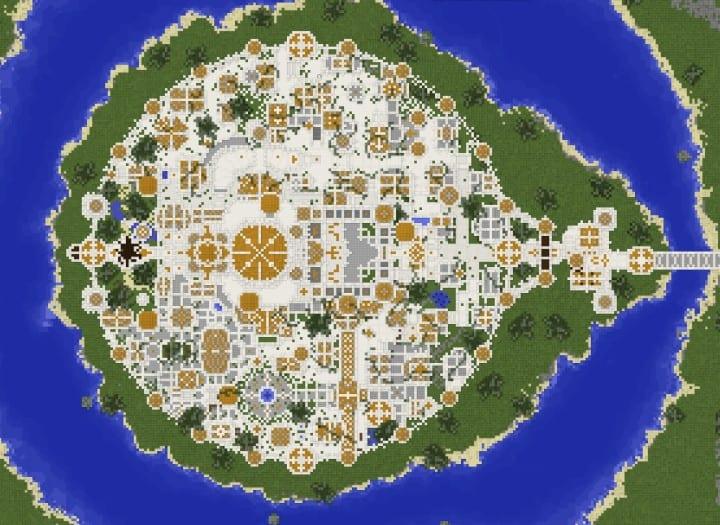 Gondolin castle mode stone lore gate white gold minecraft building ideas 7