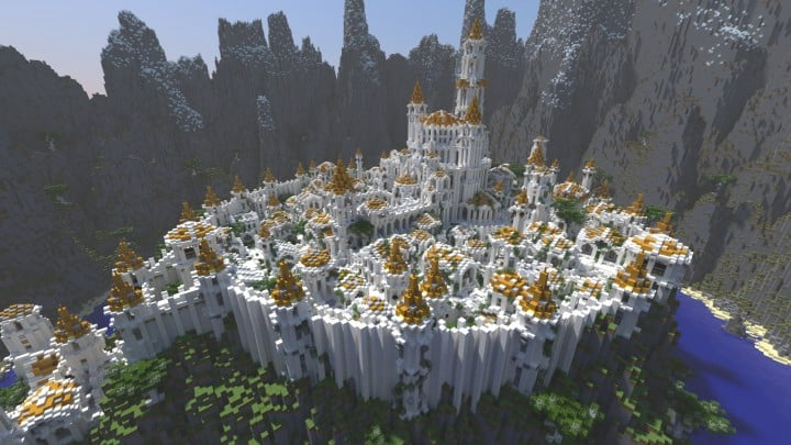 Gondolin castle mode stone lore gate white gold minecraft building ideas 8
