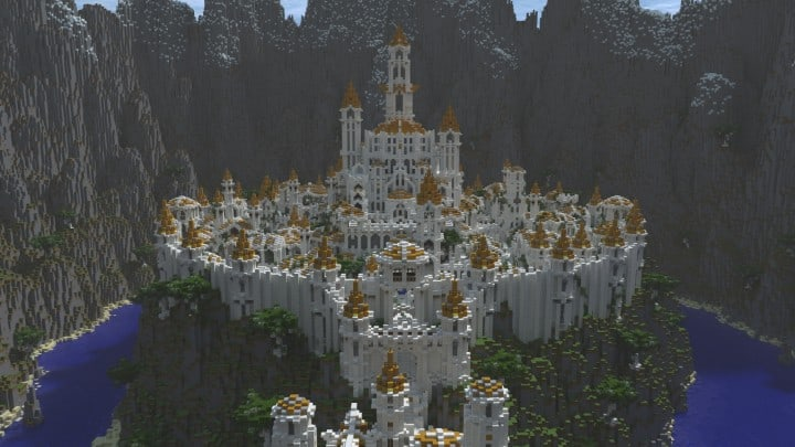 Gondolin castle mode stone lore gate white gold minecraft building ideas