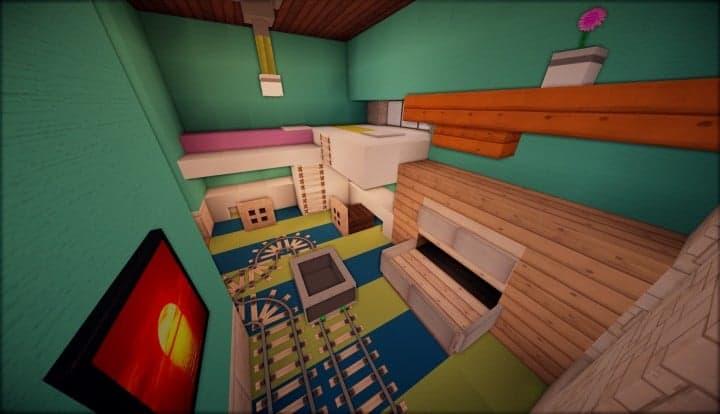 Kanomata's Modern House inside teal 2