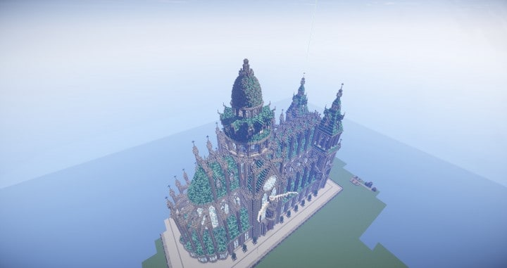 Prismarine Cathedral minecraft building ideas blueprints download save church 4