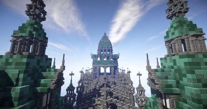 Prismarine Cathedral minecraft building ideas blueprints download save church 5