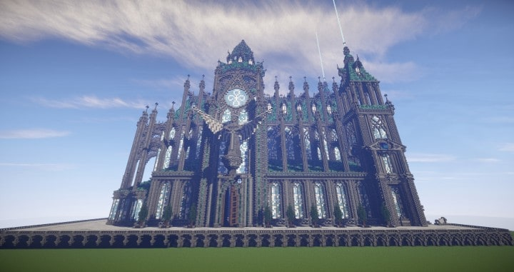 Prismarine Cathedral minecraft building ideas blueprints download save