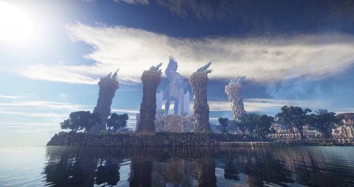 Aarun Oriental Fantasy City 1000x1000 minecraft download build  5 statue